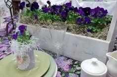 purple pansy wedding table