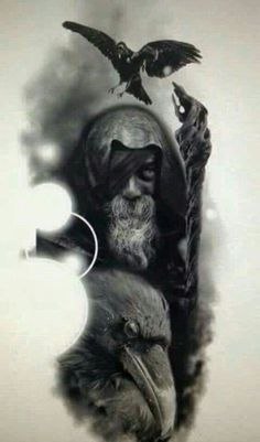 Odin and his ravens. Odin is the Norse god of magic, divinity, and foresight, as well as the king of Asgard and the God of wisdom and knowledge Hugin Munin Tattoo, Fenrir Tattoo, Valkyrie Tattoo, Armor Tattoo, Panzer Tattoo, Body Art Tattoos, Sleeve Tattoos, 3d Tattoos, Tattoo Ink