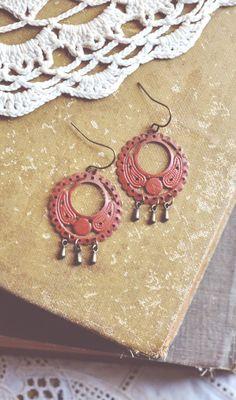 bohemian pumpkin filigree teardrop earrings