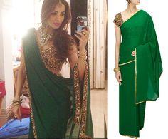 GET THIS LOOK: Malaika Arora Khan looks absolutely stunning in an outfit by Seema Khan. Shop now: http://www.perniaspopupshop.com/designers/seema-khan #malaikaarorakhan #celebritystyle #seemakhan #clothing #sari #green #embellished #perniaspopupshop #shopnow