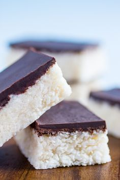 Healthy Coconut Bars - These tasty coconut bars I made today have the same flavor as a Bounty bar but are FAR healthier and super easy to make!