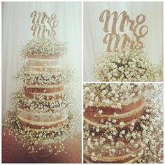 3 tier naked cake decorated with gypsophilia with a cute cake topper by @sophiavictoriajoy