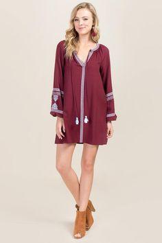 Chana Embroidered Shift Dress-Wine model