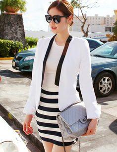 Elegant Slim Blazer in Color Block-casual blazer, chic design, cheap clothes, women's outwear, blazers for women