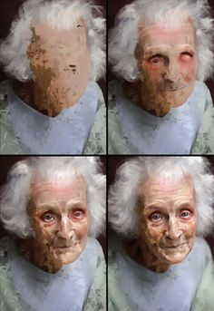 Study of an Elderly Woman Process by AaronGriffinArt on DeviantArt Digital Painting Tutorials, Art Tutorials, Painting Process, Painting & Drawing, Paint Photoshop, Painting People, Art And Illustration, Art Studies, Portrait Art