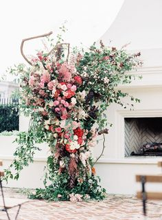 outdoor fireplace wedding ceremony with giant floral tree installation All Flowers, Growing Flowers, Large Flowers, Ceremony Decorations, Flower Decorations, Floral Wedding, Wedding Flowers, Heather Flower, Flower Room Decor