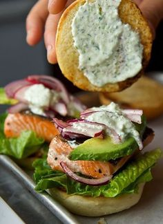 Salmon Sliders with yogurt-cucumber-dill sauce ~ yes more please! Salmon Sliders with Yogurt Cucumber Dill Sauce. oh my, these look fantastic! Salmon Recipes, Fish Recipes, Seafood Recipes, Dinner Recipes, Cooking Recipes, Cucumber Recipes, Juice Recipes, Brunch Recipes, Asian Recipes