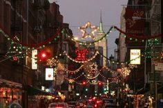 christmas in new york city view of the empire state building from