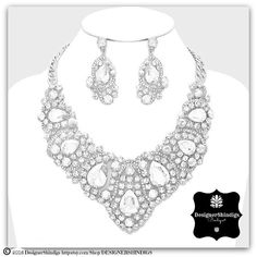 OW Rhinestone Silver & Clear Bridal Bib Necklace and Earrings Set by DESIGNERSHINDIGS on Etsy