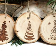 Five Wood Burned Christmas Tree Ornaments,Tree Slice Ornaments, Rustic Wood Ornaments