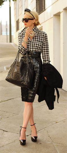 sequin pencil skirt - love love love this look!