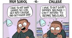 College - School Funny - School Funny meme - - The post High School vs. College appeared first on Gag Dad. High School Vs College, High School Memes, Funny College Memes, College Quotes, Hate School, College Teaching, College Hacks, Memes Humor, Funny Memes