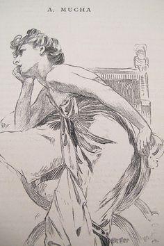 1890s Vintage Alphonse Mucha Illustration Original Art