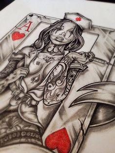 Body art tattoos, verrückten tattoos, chicano tattoos, pin up tattoos, tattoo drawings Pin Up Tattoos, Body Art Tattoos, Sleeve Tattoos, Dr Tattoo, Poker Tattoo, Clown Tattoo, Tattoo Drawings, Art Drawings, Queen Of Hearts Tattoo