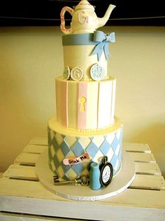 Mad Hatters Tea Party Baby Shower Cake