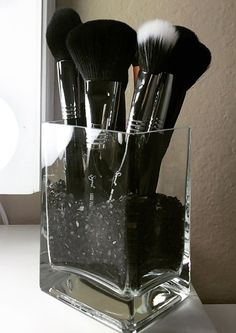 Glass Makeup Brush Holder by CrystalVanity on Etsy
