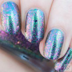 Polish Hound: ILNP Holographic Ultra Chrome Flakies: Neon Rosebud (H) over ILNP- Sirene