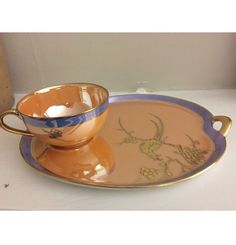 VINTAGE NORITAKE PURPLE GLAZE LUSTER WARE CUP & SNACK PLATE SET GOLD BIRD #NORITAKE
