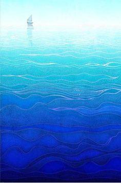 Lonely way - Art Illustration Print Poster Love decor Home decor Nature prints Nursery Kids wall art Love Turquoise sea prints Ocean prints Fantasy Magic, Illustrations, Illustration Art, Poster Prints, Art Prints, Sea Art, Nature Prints, Blue Art, Art Wall Kids