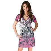 Katydid® Ladies Pink & Black Sublimation Short Sleeve Dress- Plus Size