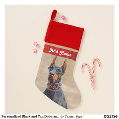 Personalized Black and Tan Doberman Pinscher Christmas Stocking Christmas Card Holders, Christmas Cards, Pet Christmas Stockings, Santa Claus Is Coming To Town, Doberman Pinscher, Christmas Animals, Pets, Black, Christmas E Cards