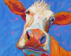 Cow Cow Art Cow Print Paper Canvas von betsymclellanstudio