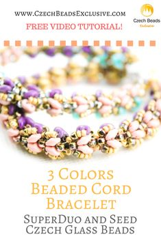 SuperDuo and Seed Czech Glass Beads - 3 Colors Beaded Cord Bracelet Pattern Free Video Tutorial | SAVE it! | CzechBeadsExclusive.com #czechbeadsexclusive #czechbeads