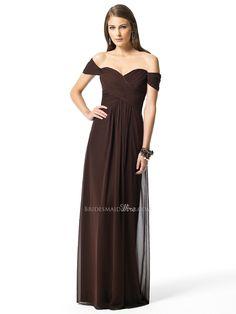 vintage espresso chiffon off the shoulder empire waist long bridesmaid formal dress