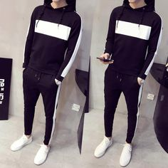 fashion Men's clothing Thin body Color matching Long sleeve hoodeds tr – myshoponline.com