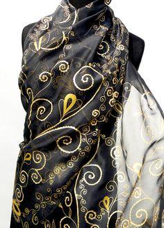 Black gold chiffon silk scarf handpainted wrap long by Irisit