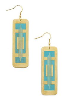 Instrumental to Your Outfit Earrings. While your halter maxi and gladiator sandals create a cute appearance, your ensemble isnt complete until you dangle these gold earrings by Mata Traders over your shoulders. #blue #modcloth