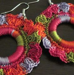 earrings made with varigated cotton thread