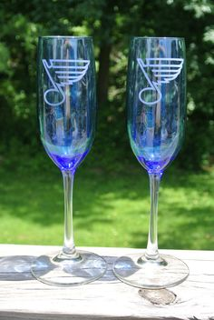 St Louis Blues Etched Champagne Glass Set by JoesCraftShack, $14.00 artfire.com