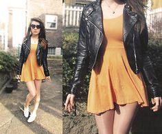 H&M Sherbet Dress, H&M Leather Jacket, Keds White Kicks - I love this outfit!!