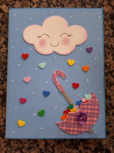 Kids Crafts, Diy And Crafts, Upcycled Crafts, Paper Airplane Game, Baby Shower Fingerprint, Umbrella Cards, Carpeaux, Paper Quilling Cards, Notebook Cover Design