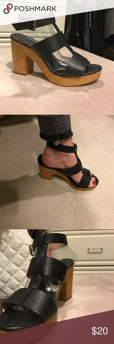 Madewell leather and wood sandals Black leather straps on toe and around ankle. These Madewell heeled sandals have been worn once. Tan wood heel. Size 8. Great fit. Comfortable. Madewell Shoes Heels