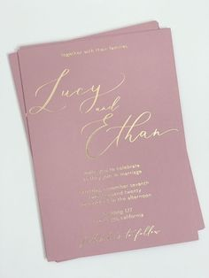Dusty Rose Wedding Invitation, Blush and Gold Wedding Invite SAMPLE, Romantic Wedding Invitations, Rose Gold Invitation, Gold Foil Stamped