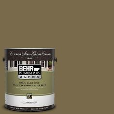 BEHR Premium Plus Ultra 1-Gal. #UL190-22 Olive (Green) Semi-Gloss Enamel Exterior Paint