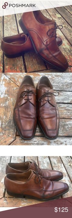 Magnanni Pardo Oxford Men's Dress Shoes 9M Magnanni Pardo 13723 Mens brown leather square toe lace up classic oxford. Stitch detailing. Made in Spain. Size 9 M. Great pre owned condition, some black scuffing on outside of both shoes (pictured) Magnanni Shoes Oxfords & Derbys