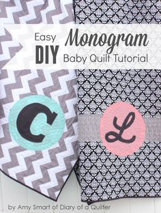 Quick and easy DIY Monogram Baby Quilt tutorial. Simple for beginners. Make a trendy baby gift quickly - perfect for showing off on-trend fabric. Baby Sewing Tutorials, Quilting Tutorials, Quilting Projects, Quilting Designs, Sewing Projects, Sewing Ideas, Quilting Tips, Beginners Sewing, Quilt Design