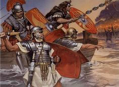 illustration of Angus Mcbride showing roman army warriors during the invasion of Britain in the 1st century AD