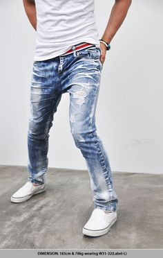 Bottoms :: Jeans :: Stripe Belt Taping Blue Ice Straight-Jeans 82 - Mens Fashion