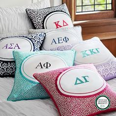 Greek Monogram Pillow Cover #pbteen:  because I like totes need some stuffs to jazz up my room in the sorority house yah?  Awesome!