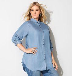 denim tunic shirt-plus size shirt-avenue | plus size clothing