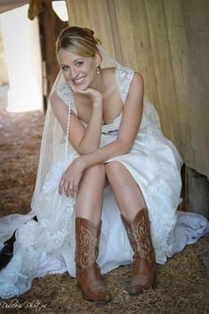 What a sweet picture - the lace on the dress is beautiful, and looks amazing paired with the cowboy boots.