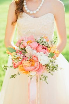 Peach and Yellow Bouquet by Cedarwood Weddings | photography by http://www.kristynhogan.com/