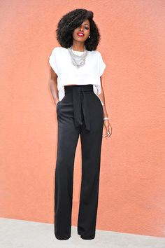 Boxy Crop Top Belted High Waist Pants