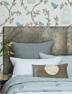 Headboard - wallpaper... images - Bianca Lorenne-love these colors.