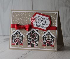 Stamps: Candy Cane Christmas Ink: Basic Black Archival, Real Red Paper: Crumb Cake, Whisper White,Real Red, Candy Cane Lane Designer Series Paper Accessories and tools: Real Red Enamel Shapes - Brights Christmas Cards To Make, Xmas Cards, Handmade Christmas, Holiday Cards, Christmas Crafts, Christmas 2016, Winter Karten, Stamping Up Cards, Winter Cards