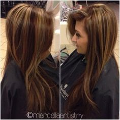 Hair color: Chocolate brown with golden highlights by tanya